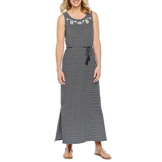St. John's Bay Sleeveless Embroidered Striped Maxi Dress