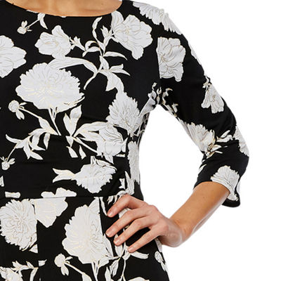 Studio 1 3/4 Sleeve Floral Sheath Dress
