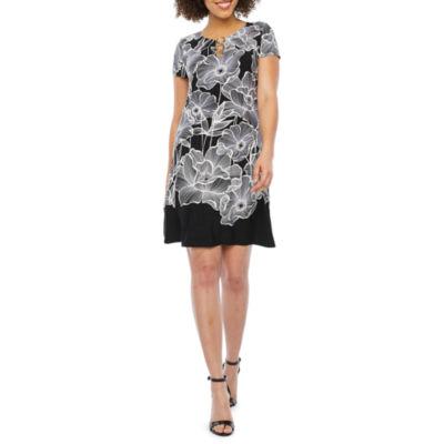 MSK Short Sleeve Floral Puff Print Swing Dresses