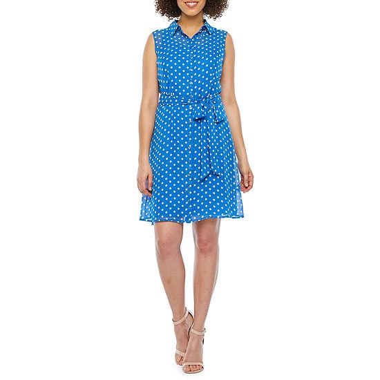 Alyx Sleeveless Dot Print Shirt Dress