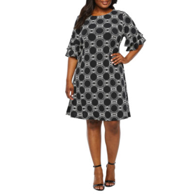 Ronni Nicole Short Bell Sleeve Circle Puff Print A-Line Dress-Plus