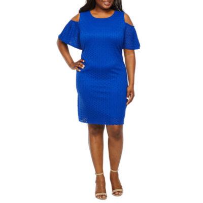 Ronni Nicole Short Sleeve Cold-Shoulder Circle Lace A-Line Dress-Plus