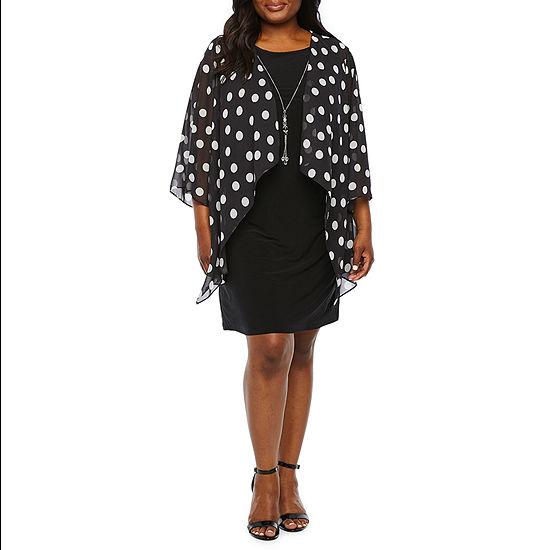 Tiana B 3/4 Sleeve Faux Jacket Dress-Plus
