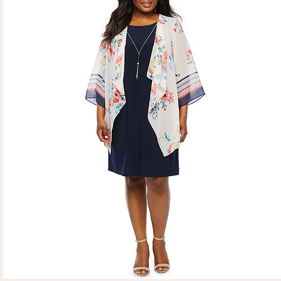 Tiana B 3 4 Sleeve Faux Jacket Dress Plus