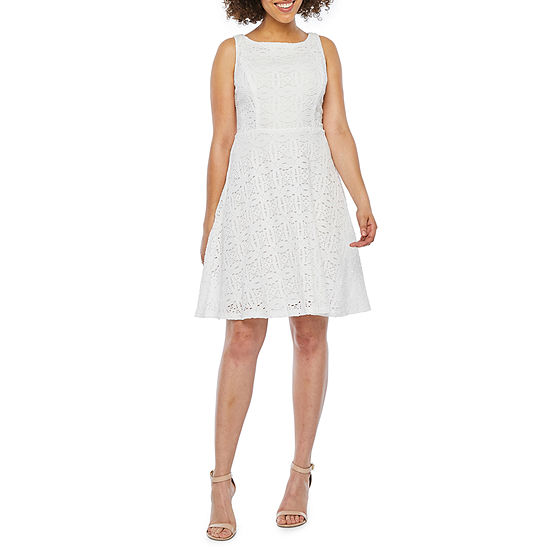 89bf1f4ccb4c Ronni Nicole Sleeveless Medallion Lace Fit & Flare Dress-Petite - JCPenney