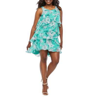 R & K Originals Sleeveless Floral Shift Dress-Petite