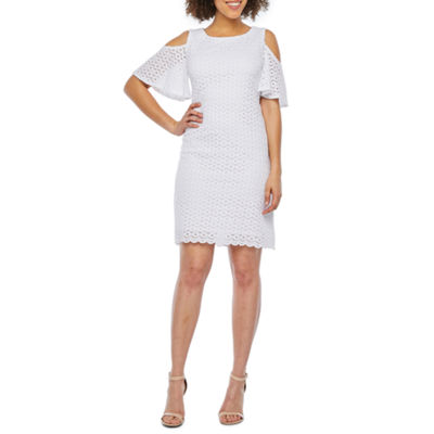 Ronni Nicole Short Sleeve Cold-Shoulder Circle Lace Shift Dress-Petite