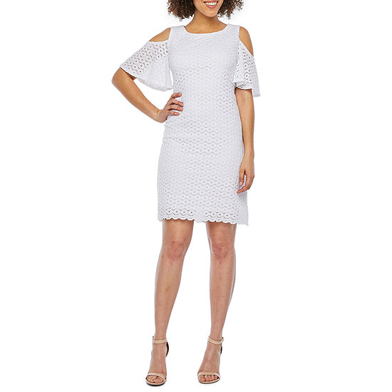 0d145b0fc366d Ronni Nicole Short Sleeve Cold-Shoulder Circle Lace Shift Dress-Petite