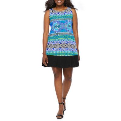 Ronni Nicole Sleeveless Scroll A-Line Dress-Petite