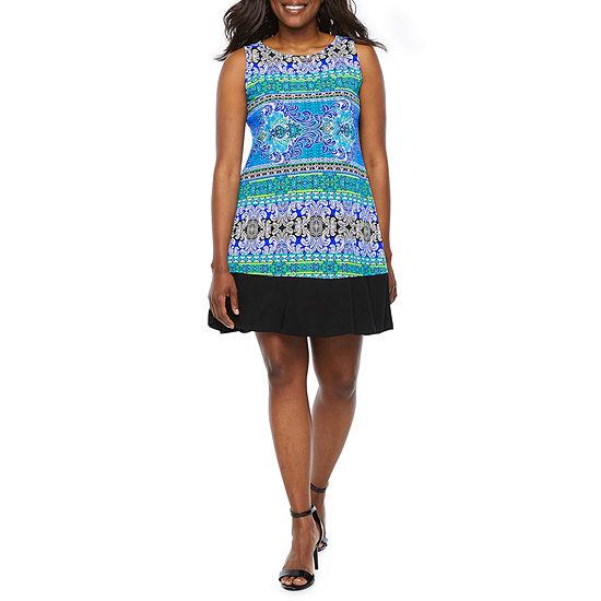 Ronni Nicole Sleeveless Scroll A Line Dress Petite