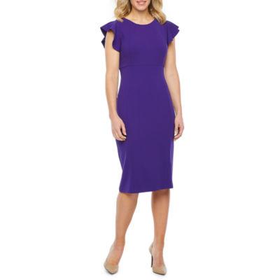 Liz Claiborne Flutter Sleeve Sheath Dress