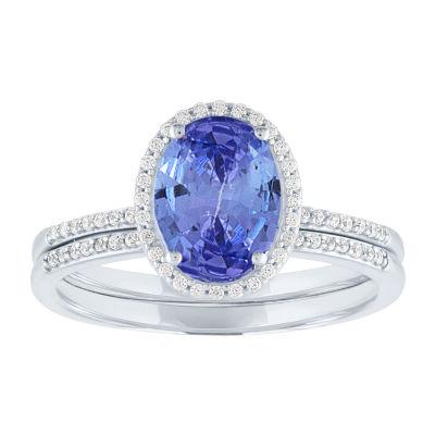 Modern Bride Gemstone Womens 1/5 CT. T.W. Genuine Blue Tanzanite 10K White Gold Bridal Set