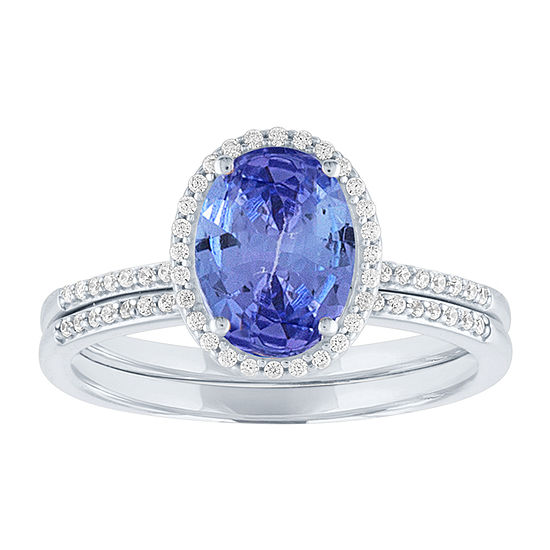 Modern Bride Gemstone Womens 1/5 CT. T.W. Genuine Blue Tanzanite 10K White Gold Bridal Set