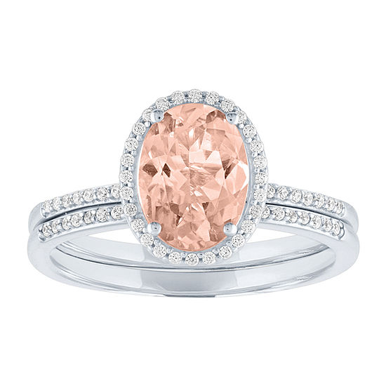Modern Bride Gemstone Womens 1/5 CT. T.W. Genuine Pink Morganite 10K White Gold Bridal Set