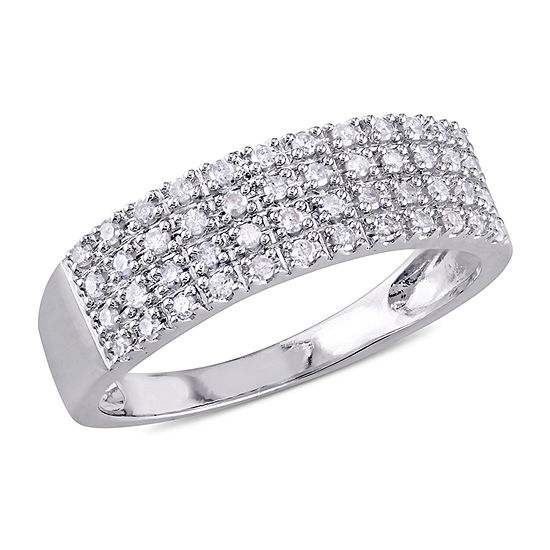 Womens 2MM 1/4 CT. T.W. Genuine White Diamond Sterling Silver Anniversary Band
