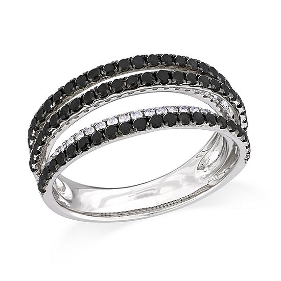 Womens 4MM 1 CT. T.W. Genuine Black Diamond Sterling Silver Anniversary Band