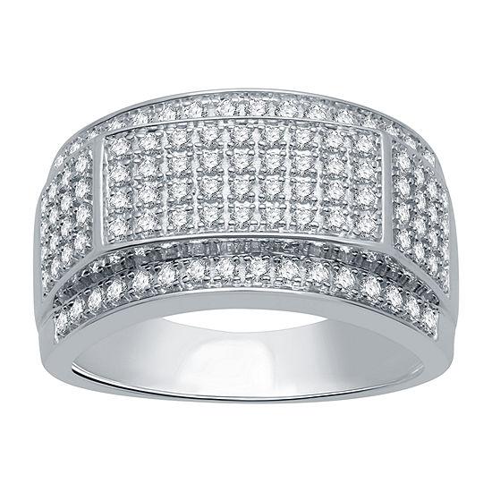 Mens 1 CT. T.W. Genuine Diamond 10K White Gold Fashion Ring