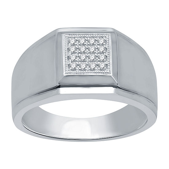 Mens 1/6 CT. T.W. Genuine Diamond 10K White Gold Fashion Ring