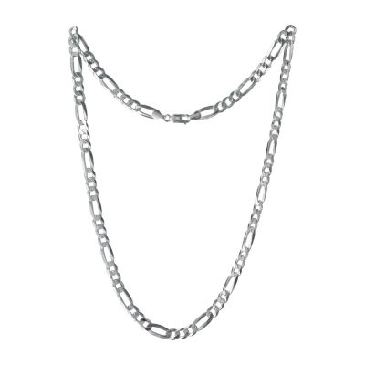 Made in Italy Sterling Silver 10 Inch Solid Figaro Chain Necklace