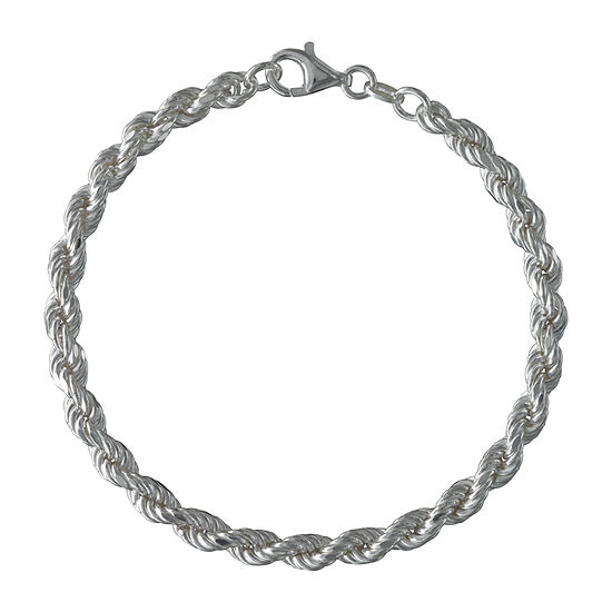 Made in Italy Sterling Silver 8 Inch Hollow Rope Chain Bracelet
