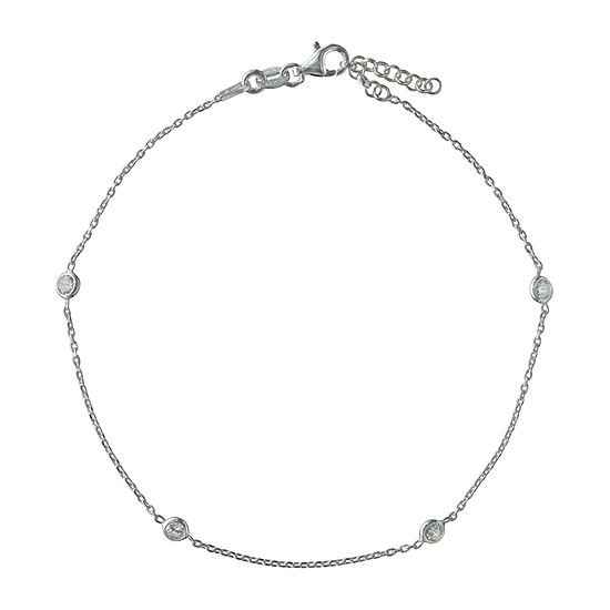 Made in Italy Sterling Silver 9 Inch Solid Link Ankle Bracelet