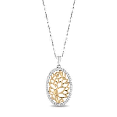 Enchanted Disney Fine Jewelry Womens 1/6 CT. T.W. Genuine Diamond Aladdin Pendant Necklace