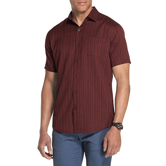 Van Heusen Air Textured Woven Mens Short Sleeve Moisture Wicking Button-Front Shirt
