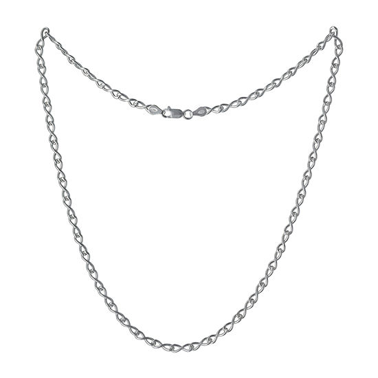 Made in Italy Sterling Silver 30 Inch Solid Link Chain Necklace