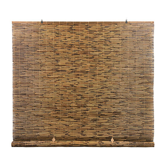 Radiance  Cord Free Peeled And Polished Reed Rollup Outdoor Shades
