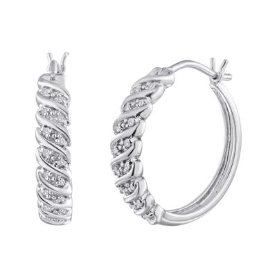 1/10 CT. T.W. Diamond Sterling Silver Swirl Hoop Earrings