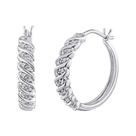 1/10 CT. T.W. Diamond Sterling Silver Swirl Hoop Earrings