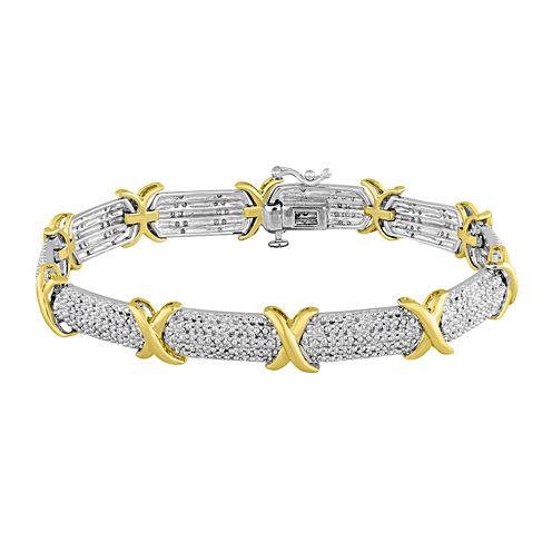 1/2 CT. T.W. Diamond Two-Tone X Bracelet