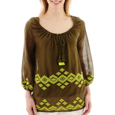 Stylus™ 3/4-Sleeve Embroidered Gauze Peasant Top