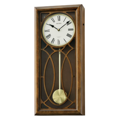 Seiko® Brown Wooden Wall Clock With Pendulum AndMelodies Brown Clock Qxm343blh