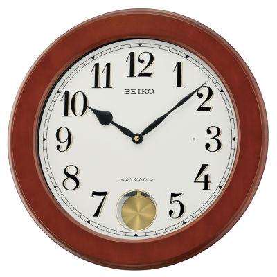 Seiko® Brown Wall Clock With Pendulum And 18 Hi-Fi Melodies Qxm548blh