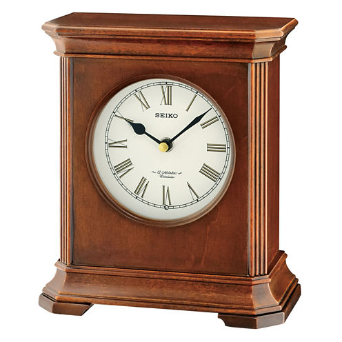 Seiko® Brown Desk/Table Clock With 12 Hi-Fi Melodies And Chime Qxw238blh
