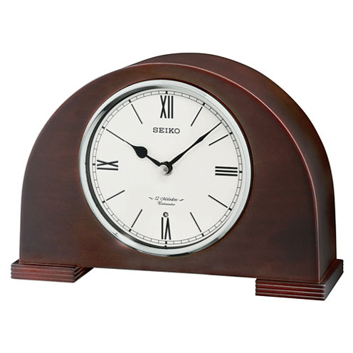 Seiko® Desk And Table Clock With 12 Hi Fi Melodies And Chime Brown Qxw239blh