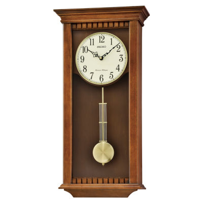 Seiko® Traditional Classics Wall Clock With Pendulum And Chime Brown Qxh064blh