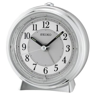 Seiko® Silver Tone Metallic Case Bedside Alarm Clock Qhe132slh