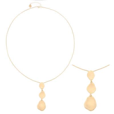Liz Claiborne® Triple Drop Long Gold-Tone Pendant Necklace