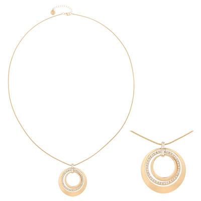 Liz Claiborne® Long Crystal & Gold-Tone Pendant Necklace