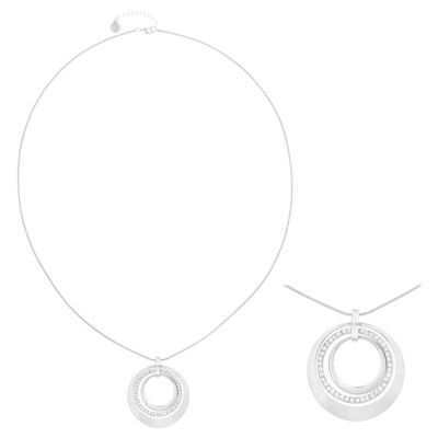 Liz Claiborne® Long Crystal & Silver-Tone Pendant Necklace