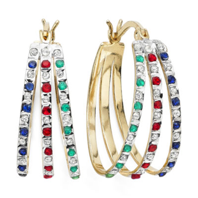 Lead Glass-Filled Ruby, Genuine Emerald, Sapphire & Diamond Accent Hoop Earrings
