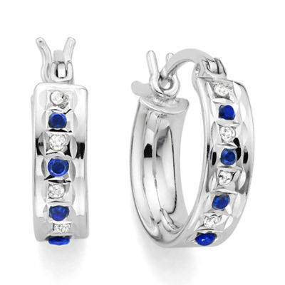 Genuine Blue Sapphire & Diamond Accent Platinum Over Silver Small Hoop Earrings