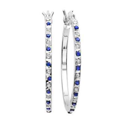 Genuine Blue Sapphire & Diamond Accent Platinum Over Silver Hoop Earrings