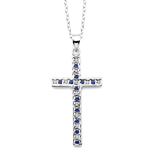 Genuine Blue Sapphire & Diamond Accent Platinum Over Silver Cross Pendant