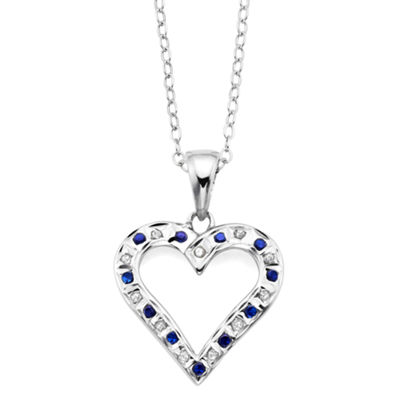 Genuine Blue Sapphire & Diamond Accent Platinum Over Silver Heart Pendant
