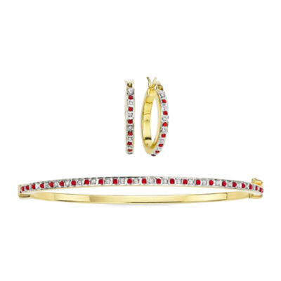 2-pc. Lead Glass-Filled Ruby & Diamond Accent Hoop Earring & Bangle Set