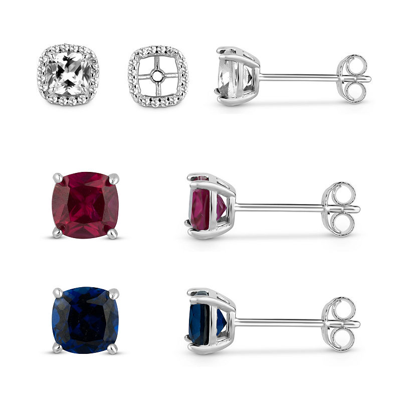 Lab-Created White Sapphire Sterling Silver Earrings Jacket With Lab-Created White Sapphire, Blue Sapphire and Ruby Sterling Silver 4-Piece Earrings S