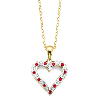 Lead Glass-Filled Ruby and Diamond-Accent Gold Over Sterling Heart Pendant